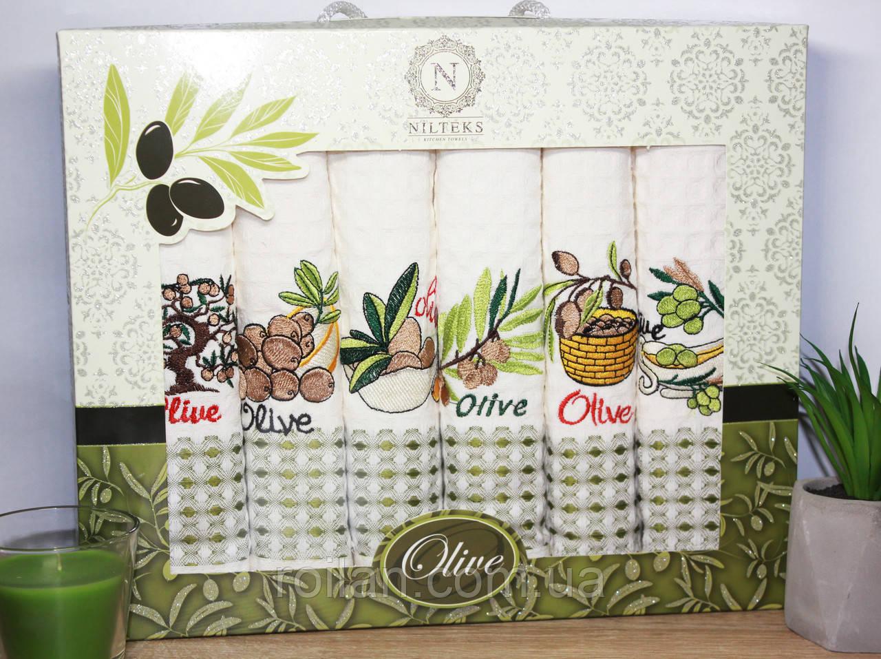 Набор турецких кухонных полотенец Неделька Оливка 50 х 70см