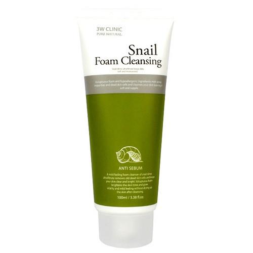 Пенка для умывания с улиткой  3W CLINIC Foam Cleansing Snail