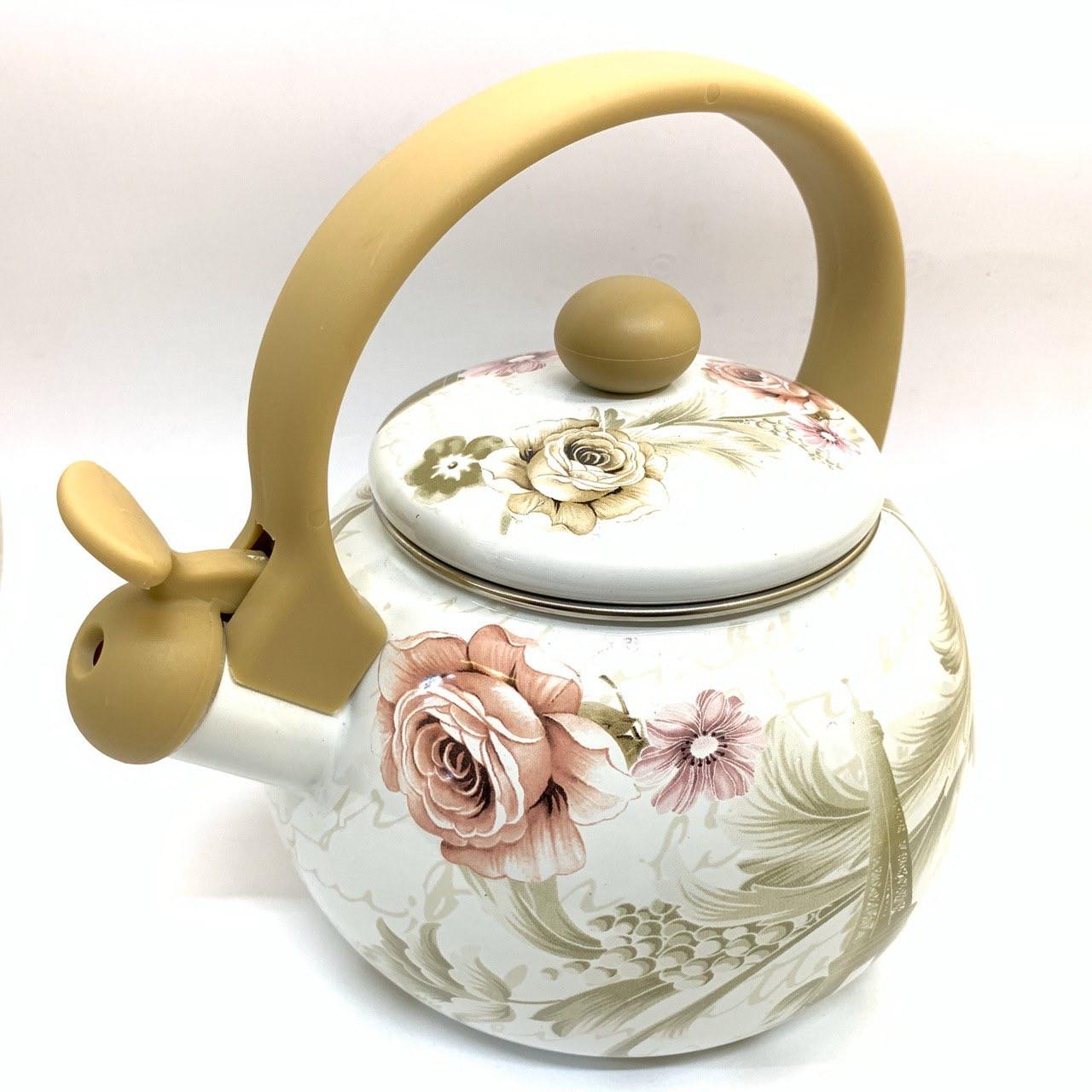 Эмалированный чайник со свистком Hoffner 4931 Grey Flowers 2,2 литра