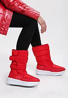 Сапоги дутики женские красные зимние код С904