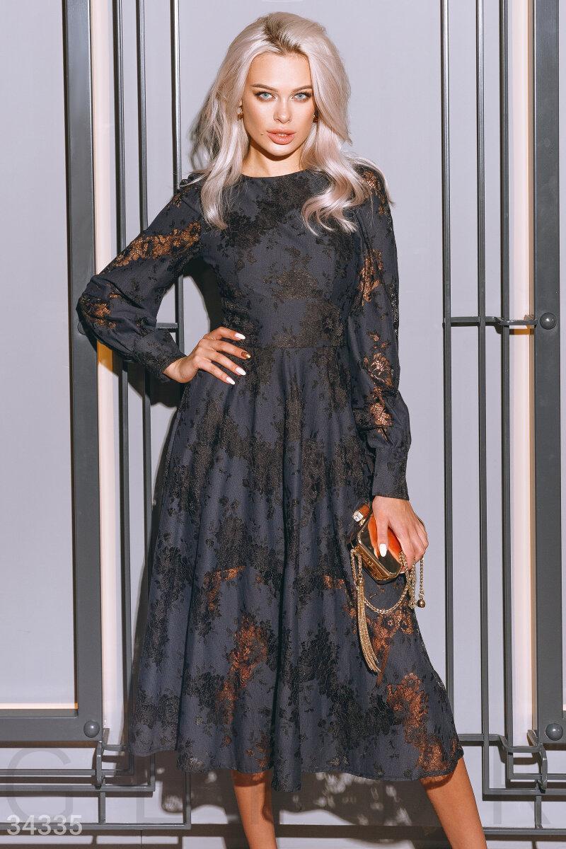 Вечернее платье миди с цветочный кружевом темно-синее