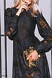 Вечернее платье миди с цветочный кружевом темно-синее, фото 2