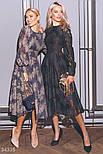 Вечернее платье миди с цветочный кружевом темно-синее, фото 4