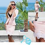 Элегантный юбочный костюм в деловом стиле светло-розовый, фото 5