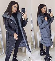 Женская длинная двухсторонняя зимняя куртка
