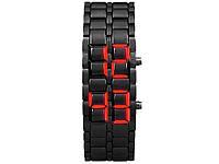 Часы Samurai светодиодные из нержавеющей стали  Черный с красным
