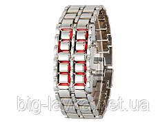 Часы из нержавеющей стали светодиодные оригинальные Samurai  Белый с красным