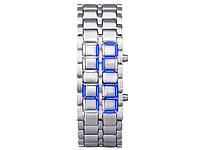 Часы из нержавеющей стали светодиодные оригинальные Samurai  Белый с синим