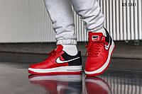Мужские кроссовки  Nike Air Force 1 '07 LV8, кожа, полиуретан, красные с черным.