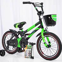 Детский двухколесный велосипед  (от 5 лет) на 16 дюймов HAMMER салатовый, фото 1