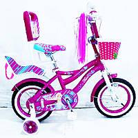 Детский двухколесный велосипед для девочки 12 дюймов Flora-12 лиловый