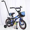 Детский двухколесный велосипед с ручкой HAMMER S500 12 дюймов синий
