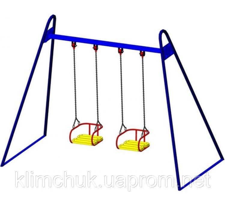 Гойдалка подвійна на гнучких підвісах для дитячих ігрових майданчиків KidSport