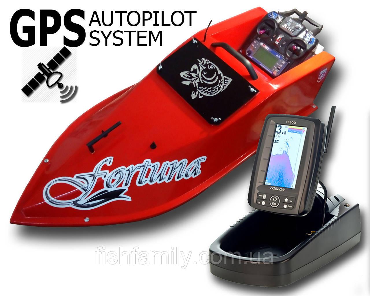 Карповый кораблик Фортуна с эхолотом Toslon TF-500 + GPS автопилот