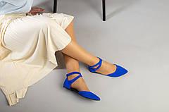 Женские замшевые балетки, синие, р.36-40, фото 2
