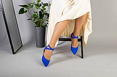 Женские замшевые балетки, синие, р.36-40, фото 3