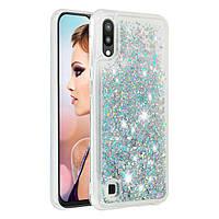 Чехол Glitter для Samsung Galaxy M10 / M105 бампер Жидкий блеск Бирюзовый