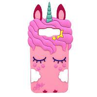 Чехол 3D Toy для Samsung Galaxy A7 2015 A700 Бампер резиновый Единорог Rose