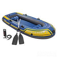 """Лодка надувная трехместная с веслами и насосом Intex 68370 """"Challenger"""", до 255 кг"""