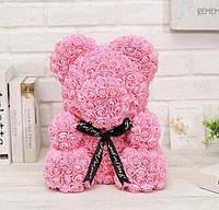 Мишка из 3D роз с ленточкой 40 см в коробке