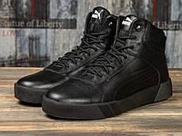 Мужские зимние ботинки на меху Puma Desierto Sneaker, натуральная кожа, черные.***