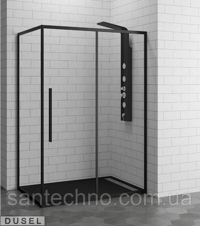 Душевая кабина (угол) прямоугольная Dusel DL-191\195(120*80*190) Black (прозрачное стекло)