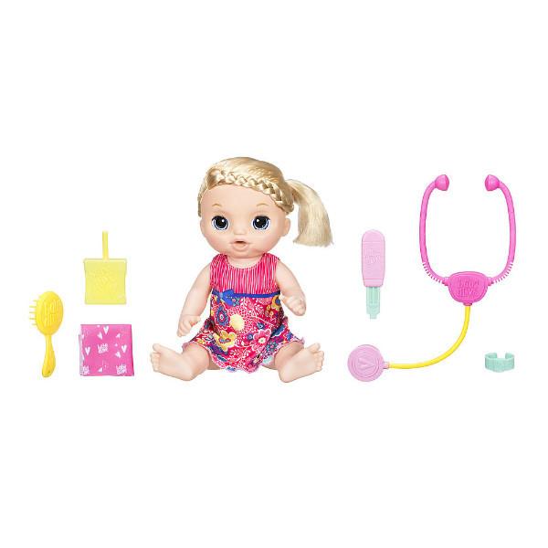 Baby Alive Интерактивная кукла пупс Малышка у врача блондинка C0957 Sweet Tears Baby Doll Blonde