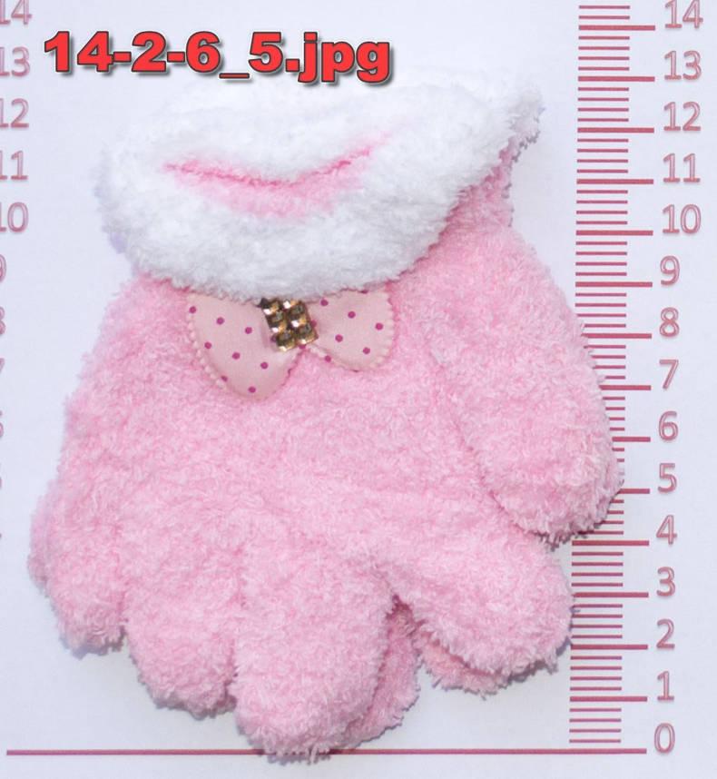 Перчатки детские махровые для девочек - разные цвета - 14-2-6, фото 2