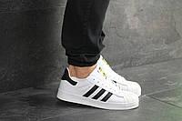 Мужские кроссовки Adidas Superstar, кожа, белые с черным.