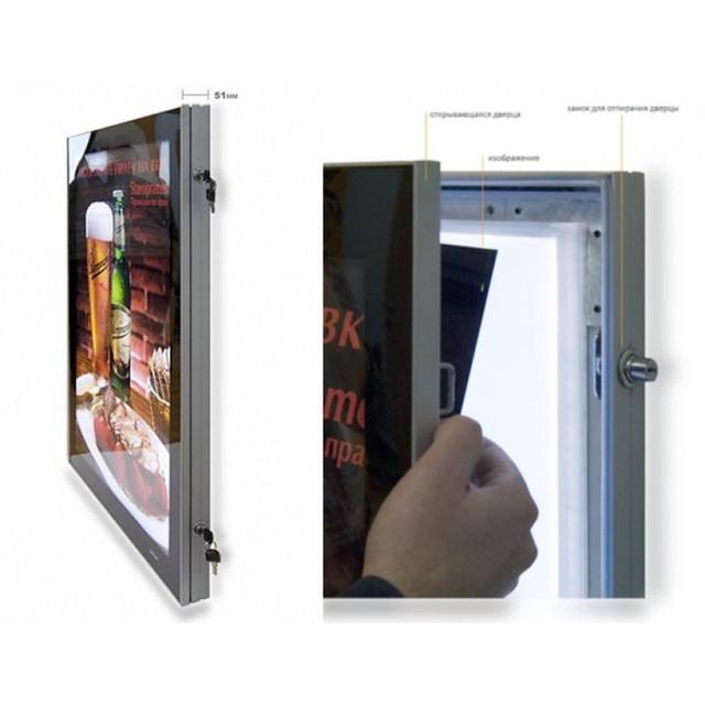световой короб, лайтбокс для наружной рекламы, фреймлайт outdoor с антивандальными замками