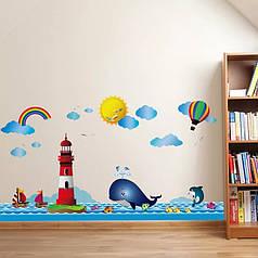 """Виниловые  наклейка на стену, наклейки в ванную, в детскую """"Море, маяк, кит"""" 104см*62см (лист50*70см)"""