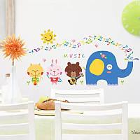 Наклейка на стену, виниловые наклейки мультфильм Музыкальные зверюшки 41см*82см (лист50*70см)