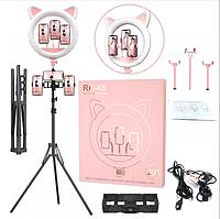Кольцевая лампа с ушками 65 Вт. Селфи лампа с 3 держателями Pink