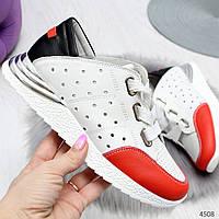 Женские белые кожаные кроссовки с перфорацией с красном носком, фото 1