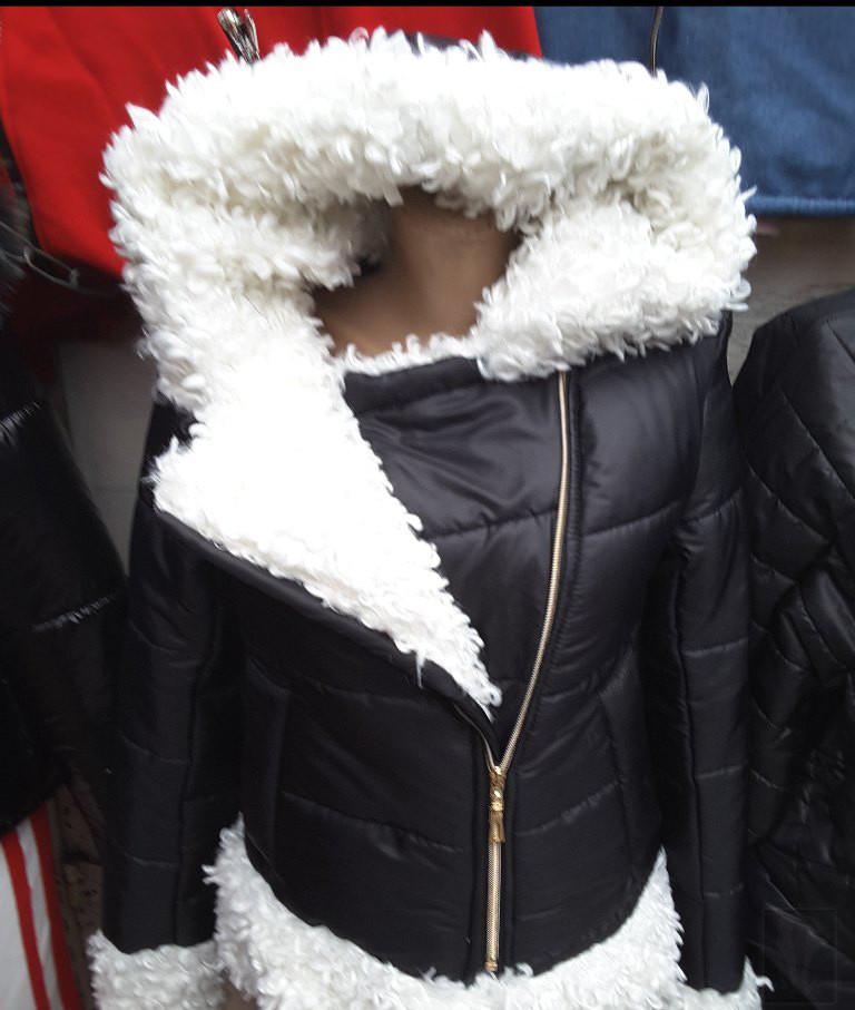 Куртка женская короткая из плащевки с молнией на искусственном меху (К29756)