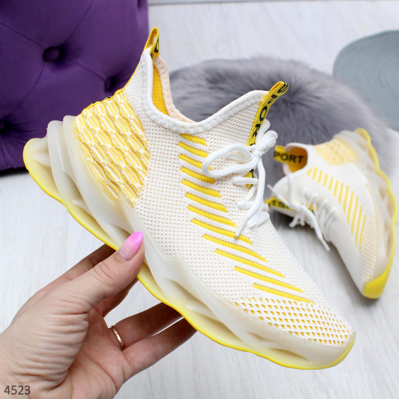 Женские желтые текстильные кроссовки-носки Sport  Socks