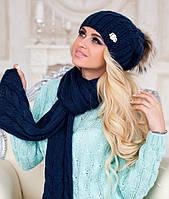 Зимний женский комплект «Эйфория» (шапка, шарф) светлый кофе