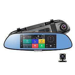 "D36 Зеркало регистратор, 7"" сенсор, 2 камеры, GPS навигатор, WiFi, 16Gb, Android, 3G+ПОДАРОК!"