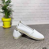 Белые кожаные мокасины, фото 1