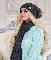 Зимний женский комплект «Эйфория» (шапка, шарф)