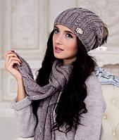 Зимний женский комплект «Эйфория» (шапка, шарф) Темный кофе