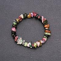 Браслет из натурального камня Турмалин крошка на резинке обхват 18см