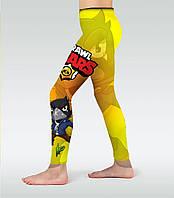 Детские леггинсы Brawl Stars Yellow (Желтые) Лосины, штаны спортивные, фото 1