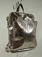 Стильный небольшой рюкзак-сумка Valensiy 88118 темно- серебристый, трансформер, фото 1
