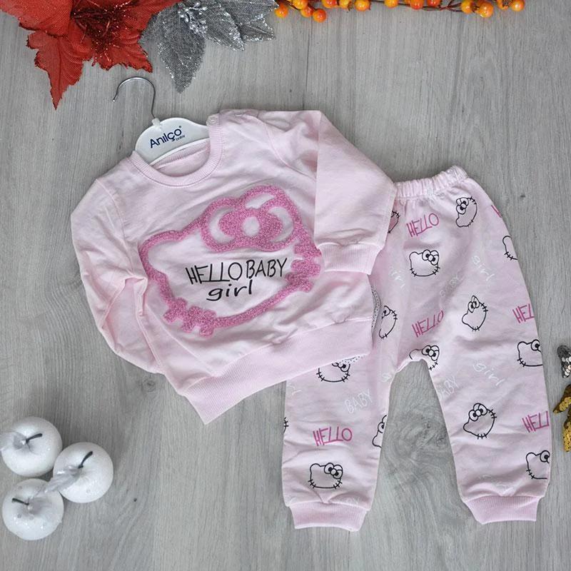 Детский трикотажный  костюм, (батник+штанишки), размер: 9-12-18 мес (3 ед в уп)