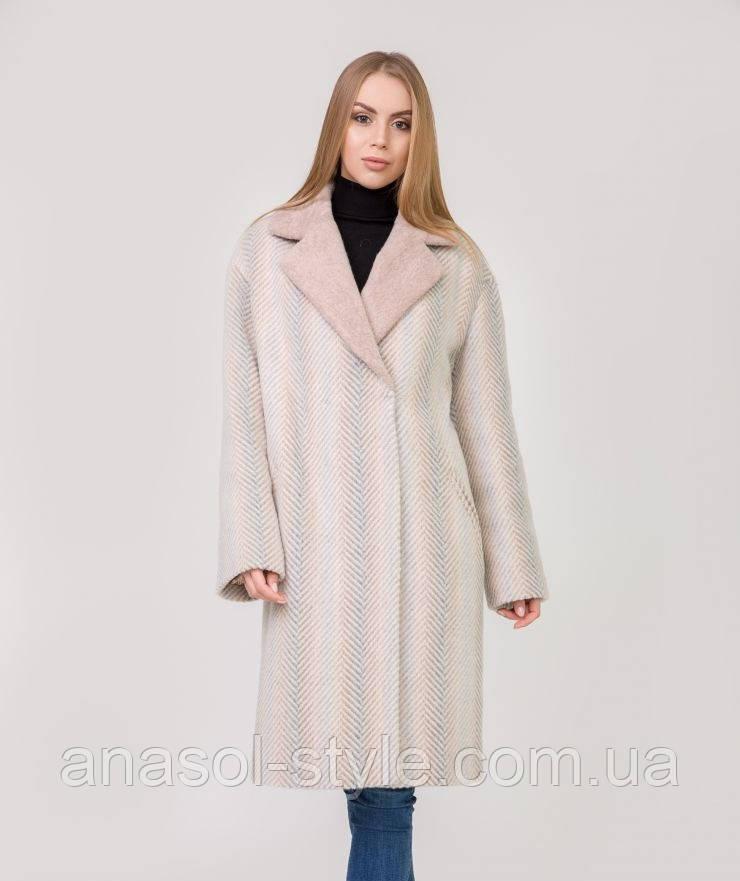Пальто жіноче шерстяне з коміром з штучного альпака колір пудра