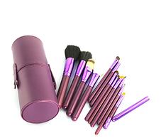 Большой набор кистей для нанесения макияжа МАС 12 шт в фиолетовом тубусе, фото 2