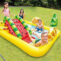"""Детский надувной бассейн с горкой Intex мини аквапарк """" Территория Сладостей """""""