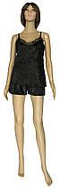 Пижама женская из мраморного велюра с кружевом (топ и шорты) 20012 Miranda велюр бархат Черная