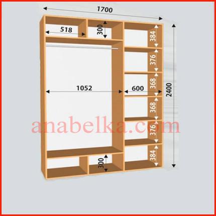Шкаф-купе Стандарт 1700*600*2400 белый 2 зеркала (Феникс мебель), фото 2